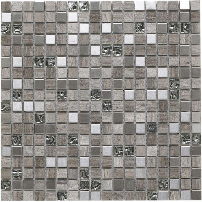 Delaware Cream Glass//Stone//Metal Mix Linear Mosaic 15x50mm